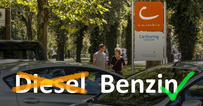 Cambio Carsharing reagiert auf Abgsskandal und stellt Flotte auf Benziner um